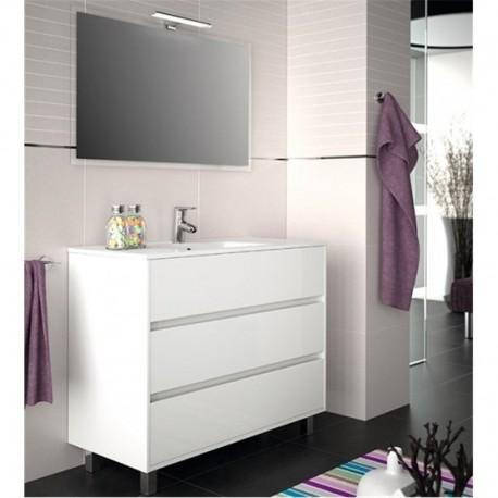 Mueble ba o completo con patas blanco brillo tres cajones for Mueble bano rustico blanco