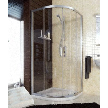 Mamparas De Bano 80x80.Mampara Ducha Semicircular 80x80 Perfil Plata Brillo Cristal Transparente Saneamientos Emiliano Iglesias
