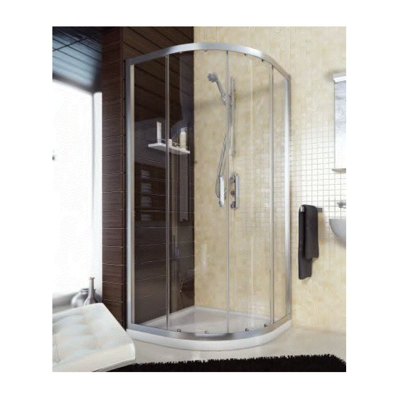 Mampara ducha semicircular 80x80 perfil plata brillo cristal transparente saneamientos - Perfil mampara ducha ...