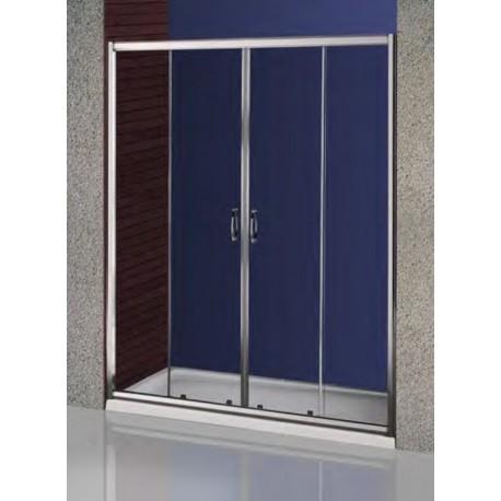 Mampara ducha frontal 160 perfil plata brillo cristal transparente saneamientos emiliano iglesias - Perfil mampara ducha ...